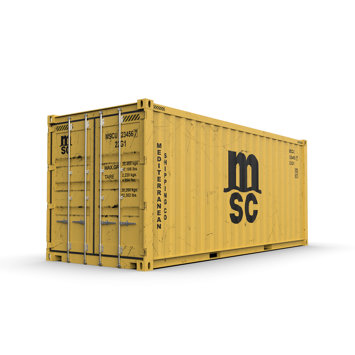 20 feet msc standardowy kontener transportowy 3d model 3ds max fbx ma mb obj 278382