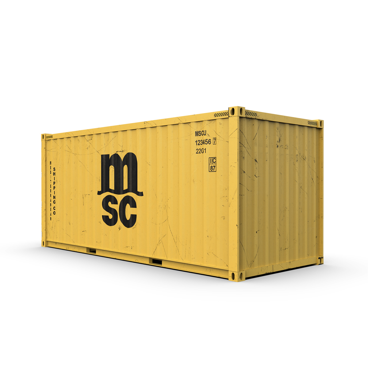 20 feet msc standard shipping container 3d model 3ds max fbx ma mb obj 278383