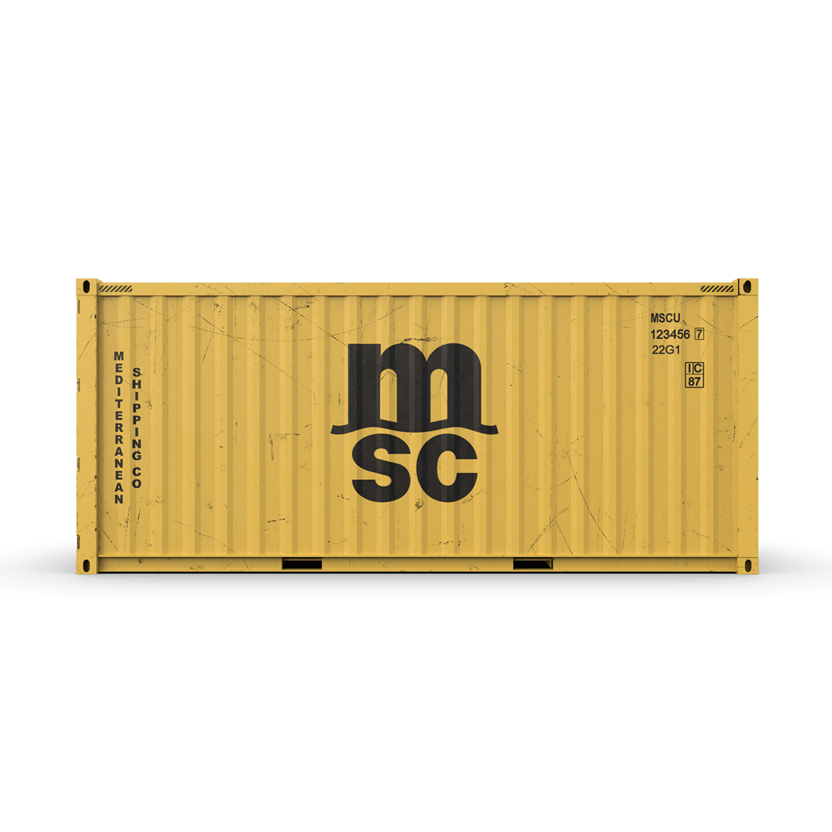 20 feet msc standard shipping container 3d model 3ds max fbx ma mb obj 278384