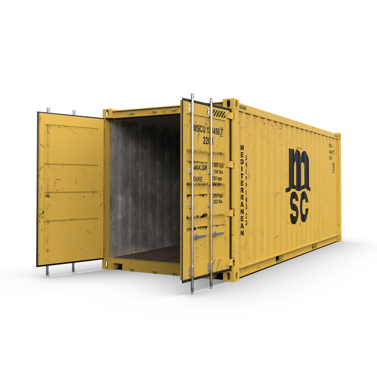 20 feet msc standard shipping container 3d model 3ds max fbx ma mb obj 278385
