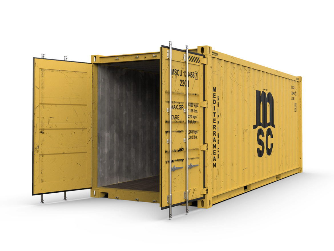 20 feet MSC standard shipping container 3d model 3ds max fbx ma mb obj