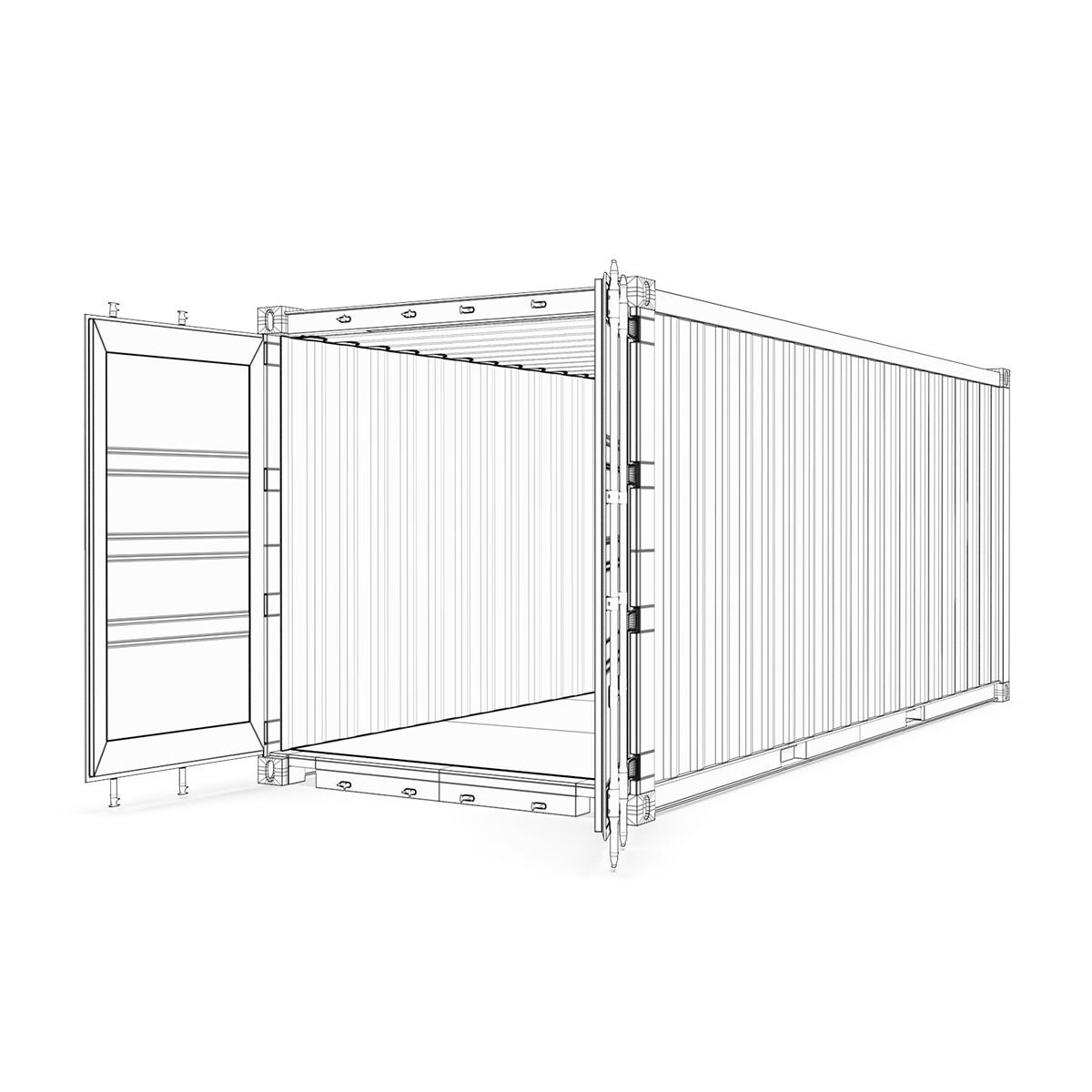 20 feet msc standard shipping container 3d model 3ds max fbx ma mb obj 278386