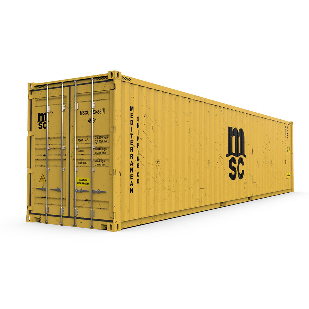 40 feet high cube msc shipping container 3d model 3ds max fbx ma mb obj 278397