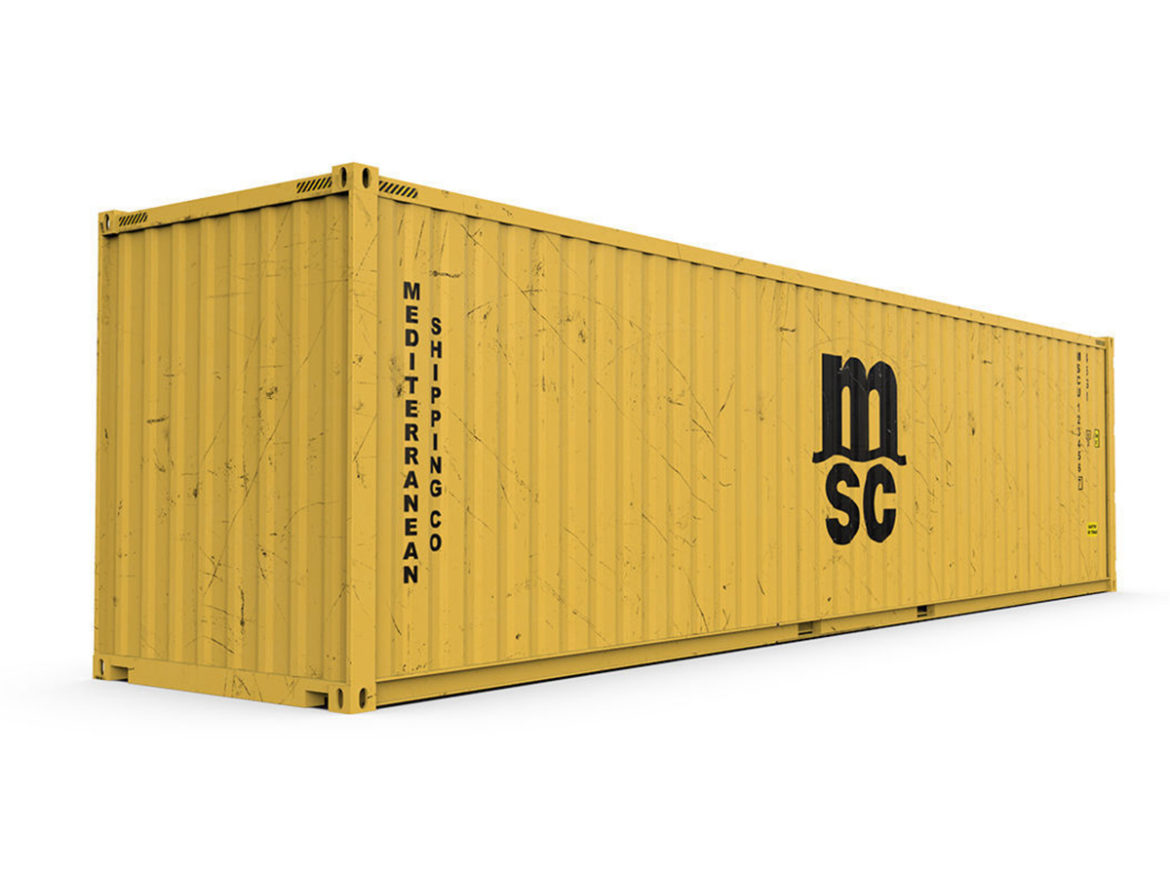 40 feet High Cube MSC shipping container 3d model 3ds max fbx ma mb obj