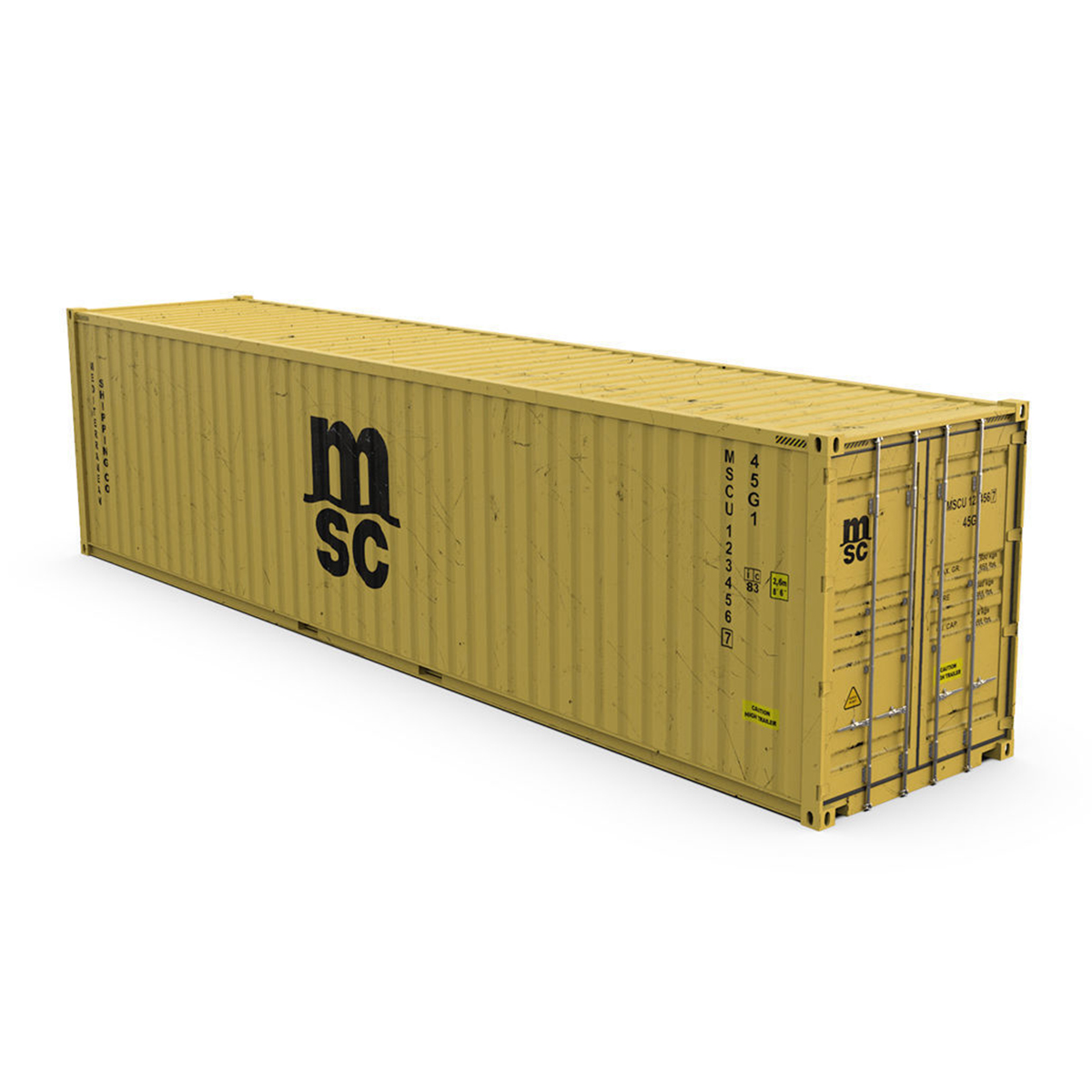 40 Feet High Cube MSC Shipping Container 3D Model
