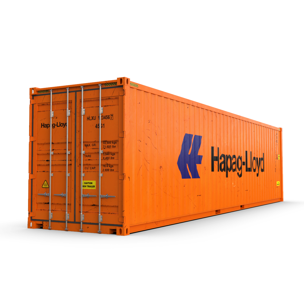 40 feet high cube hapag lloyd shipping container 3d model max fbx ma mb texture obj 278419