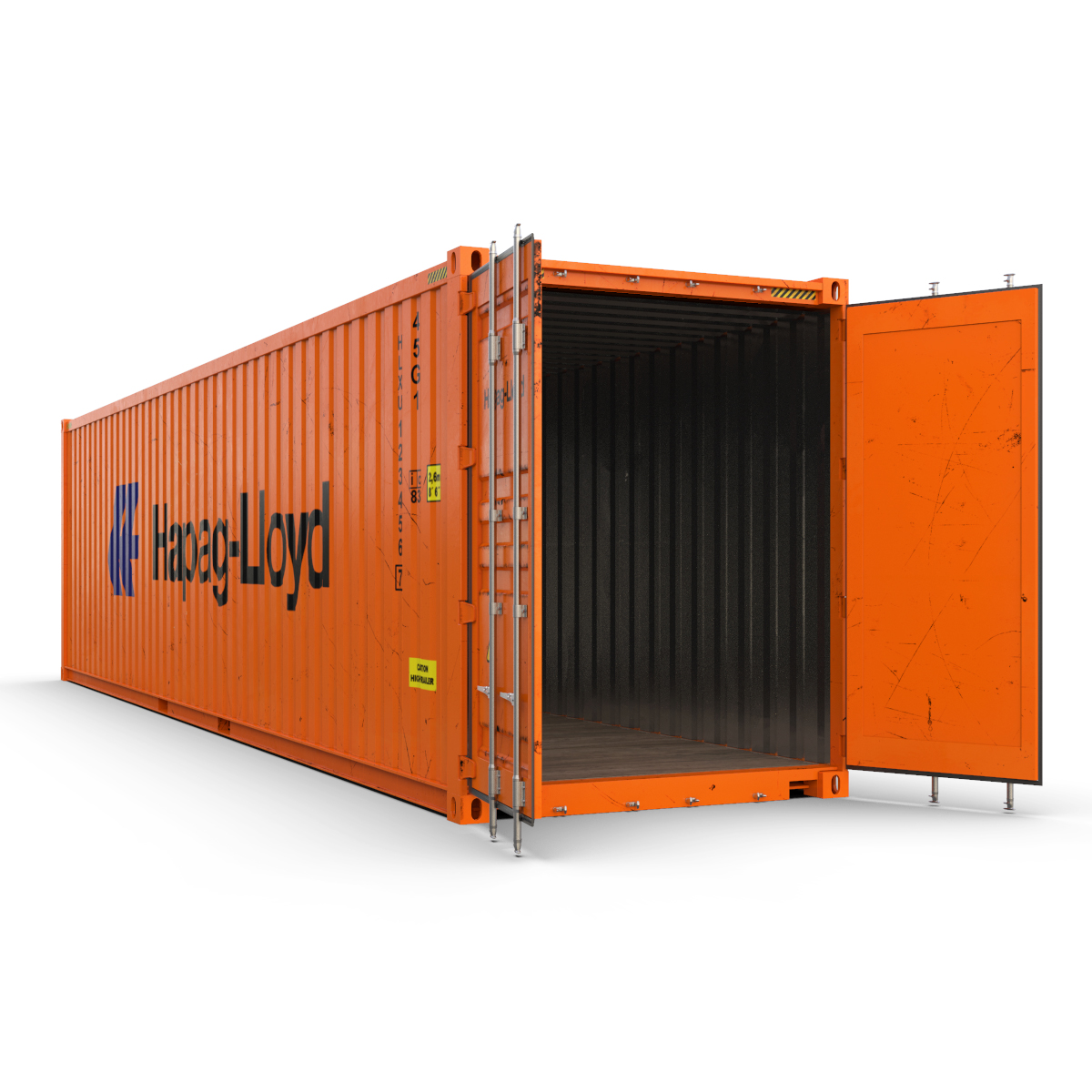 40 feet high cube hapag lloyd shipping container 3d model max fbx ma mb texture obj 278422