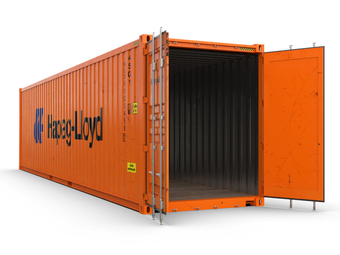 40 feet High Cube Hapag Lloyd shipping container 3d model max fbx ma mb  obj