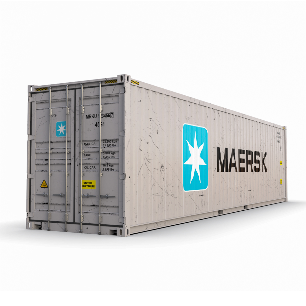40 feet high cube maersk shipping container 3d model max fbx ma mb texture obj 278426