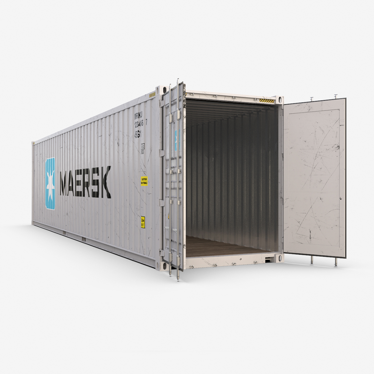 40 feet high cube maersk shipping container 3d model max fbx ma mb texture obj 278427