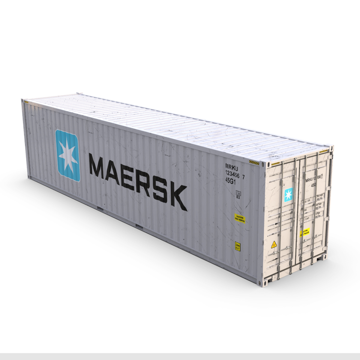 40 feet high cube maersk shipping container 3d model max fbx ma mb texture obj 278429