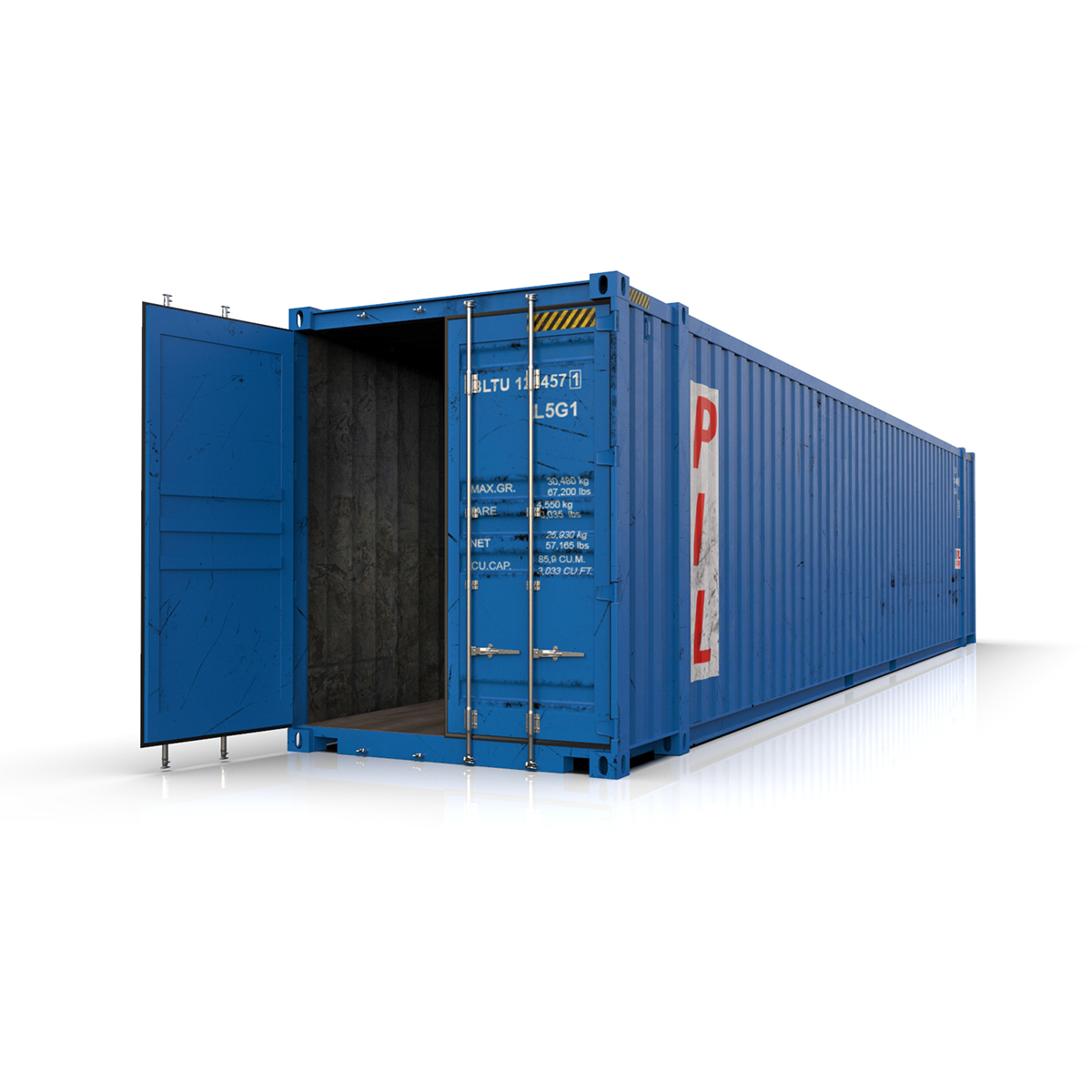 45 feet high cube pil shipping container 3d model max fbx ma mb texture obj 278444