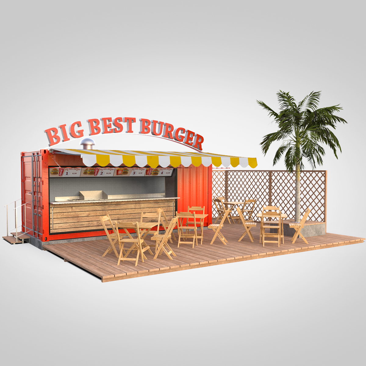 shipping container food stand 3d model max fbx ma mb texture obj 278558