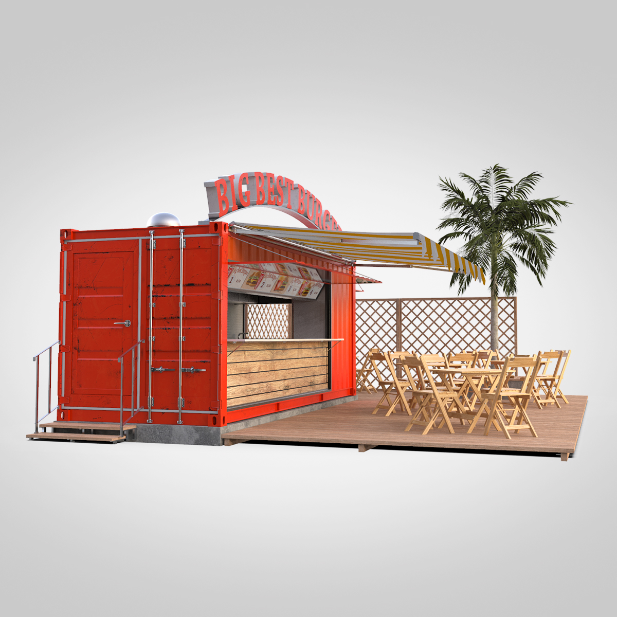 shipping container food stand 3d model max fbx ma mb texture obj 278559