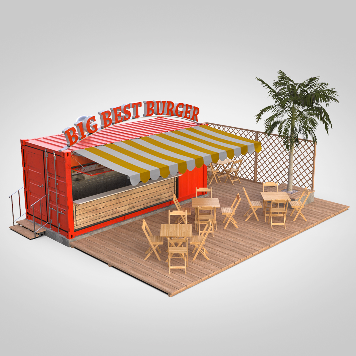 shipping container food stand 3d model max fbx ma mb texture obj 278561
