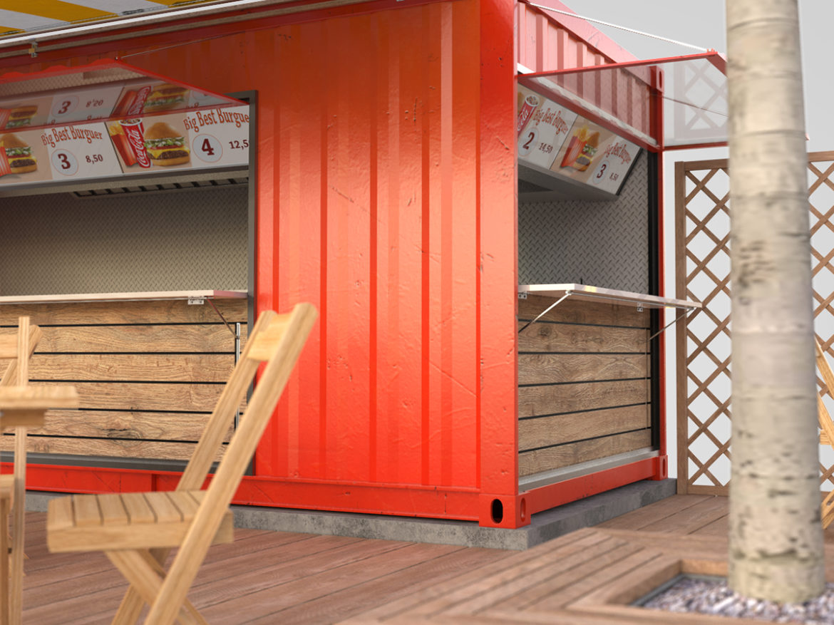 Shipping container food stand 3d model max fbx ma mb  obj