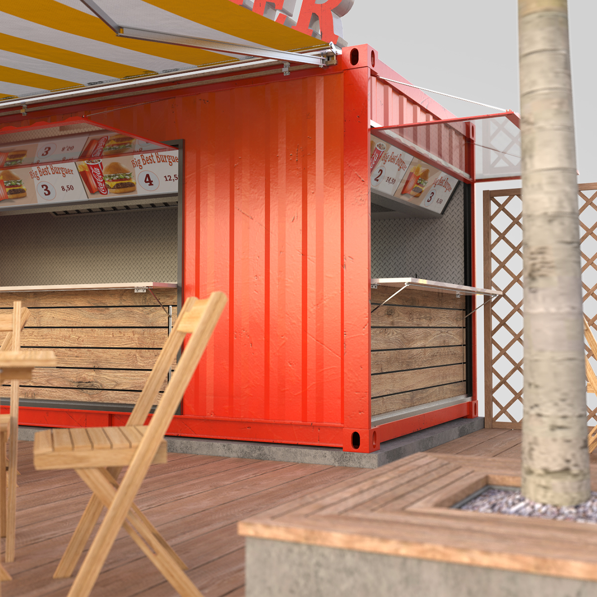 shipping container food stand 3d model max fbx ma mb texture obj 278562