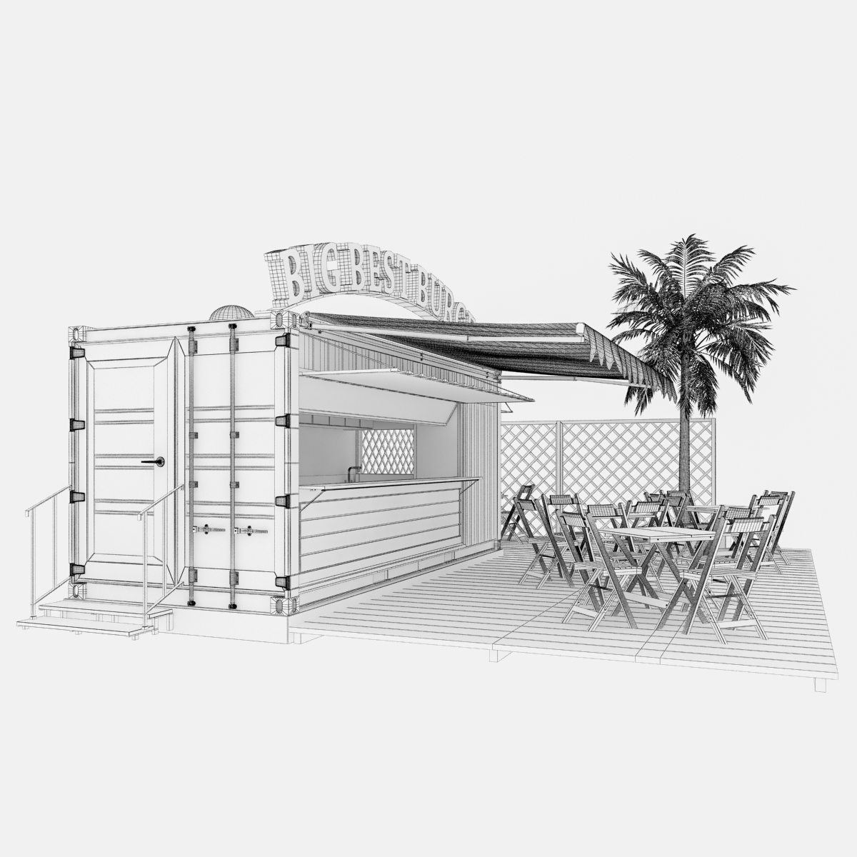 shipping container food stand 3d model max fbx ma mb texture obj 278564