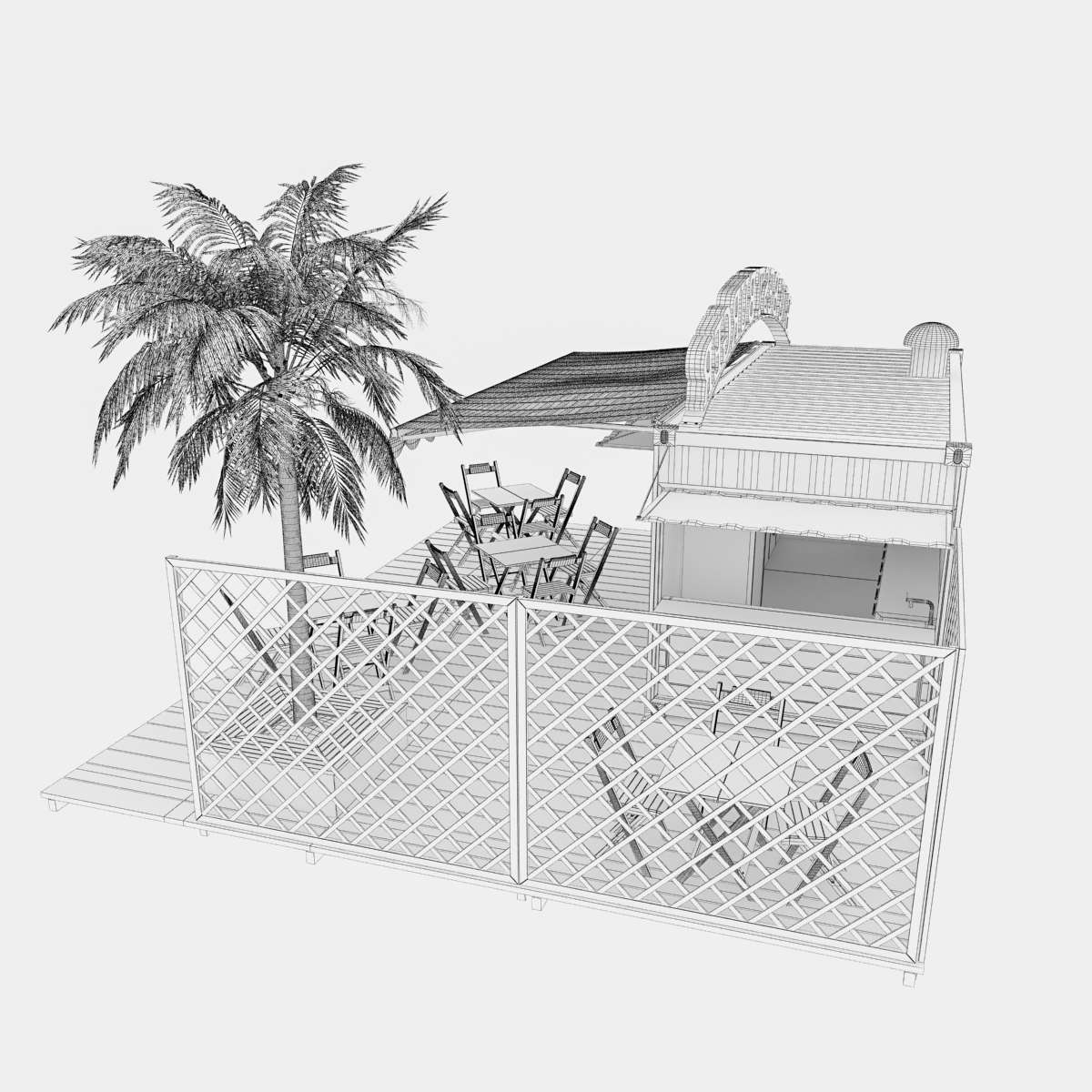 shipping container food stand 3d model max fbx ma mb texture obj 278565