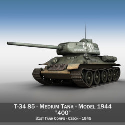 T-34 85 - Soviet medium tank - 400 3d model high poly virtual reality 3ds fbx c4d lwo lws lw obj