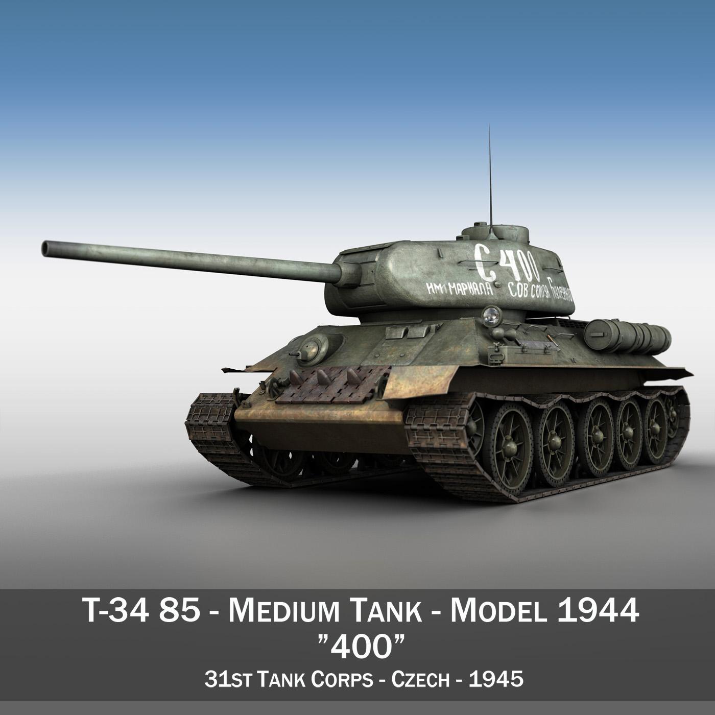 T-34 85 - Soviet medium tank - 400 3d model 3ds fbx c4d lwo lws lw obj 279052