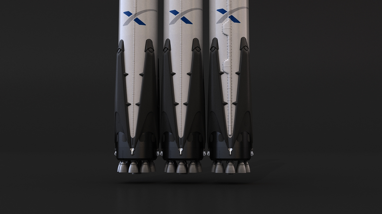 falcon heavy 3d model 3ds max 279081