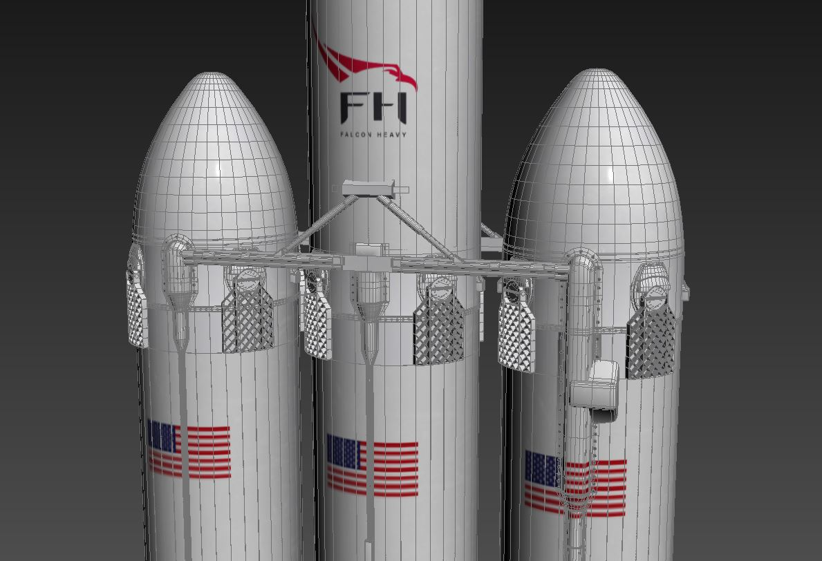 falcon heavy 3d model 3ds max 279083