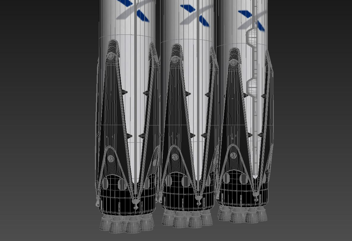 falcon heavy 3d model 3ds max 279084