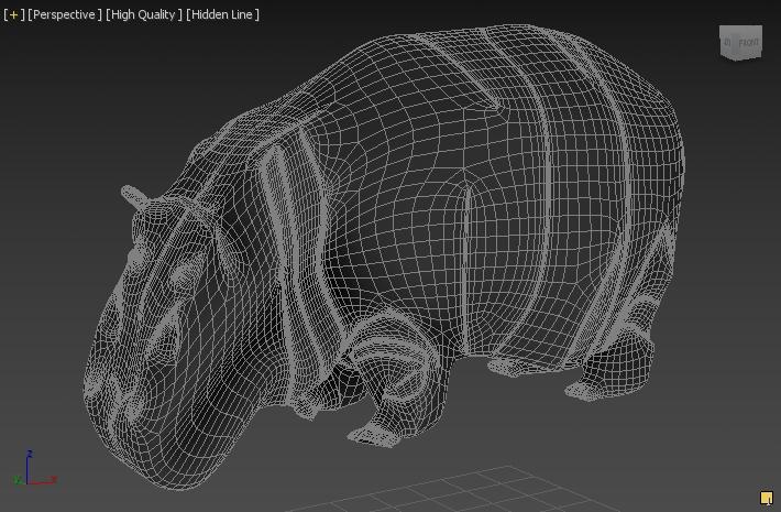 hippopotamus 3d model 3ds max fbx c4d dae  279090
