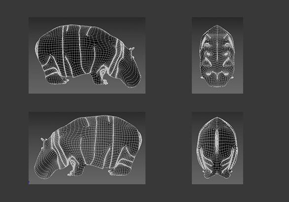 hippopotamus 3d model 3ds max fbx c4d dae  279098