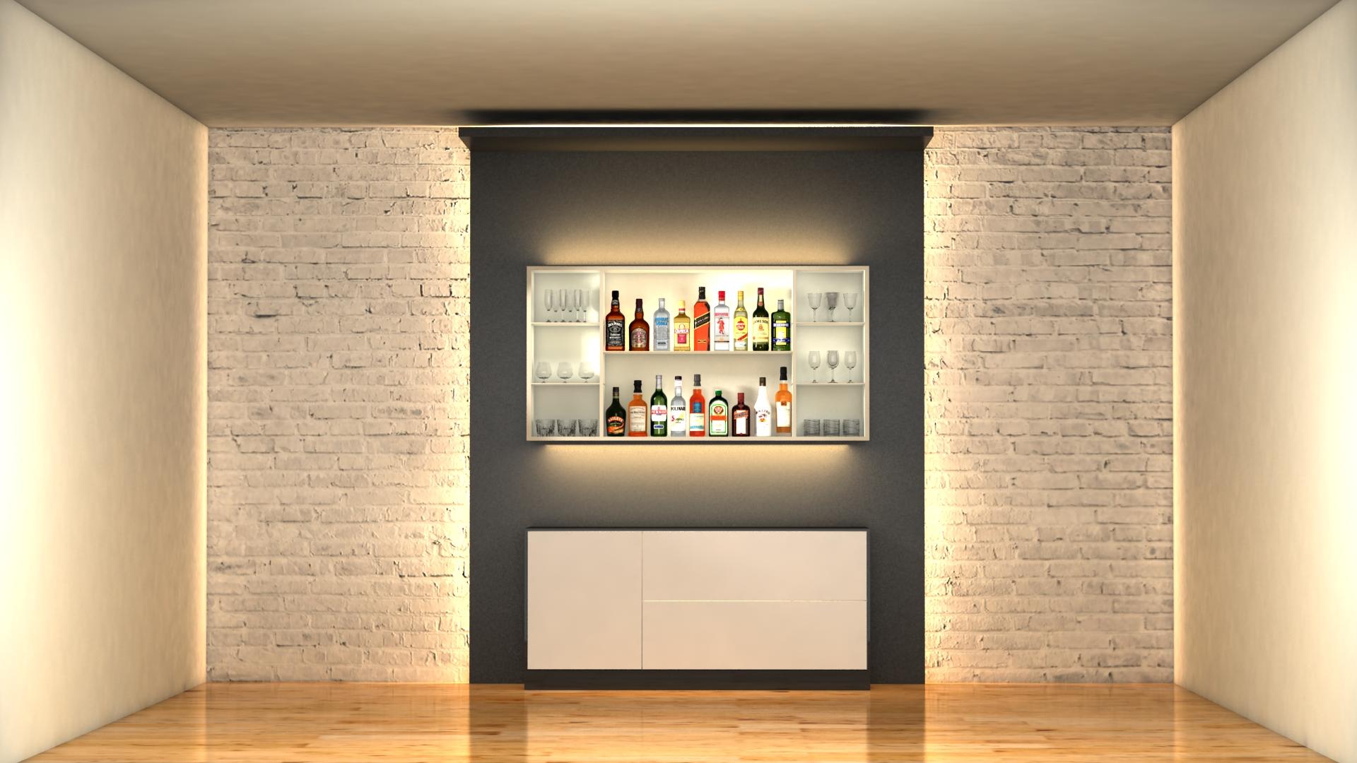 liquor bottles with bar unit interior vr/ar ready 3d model 3ds max  fbx jpeg jpg texture obj 279235