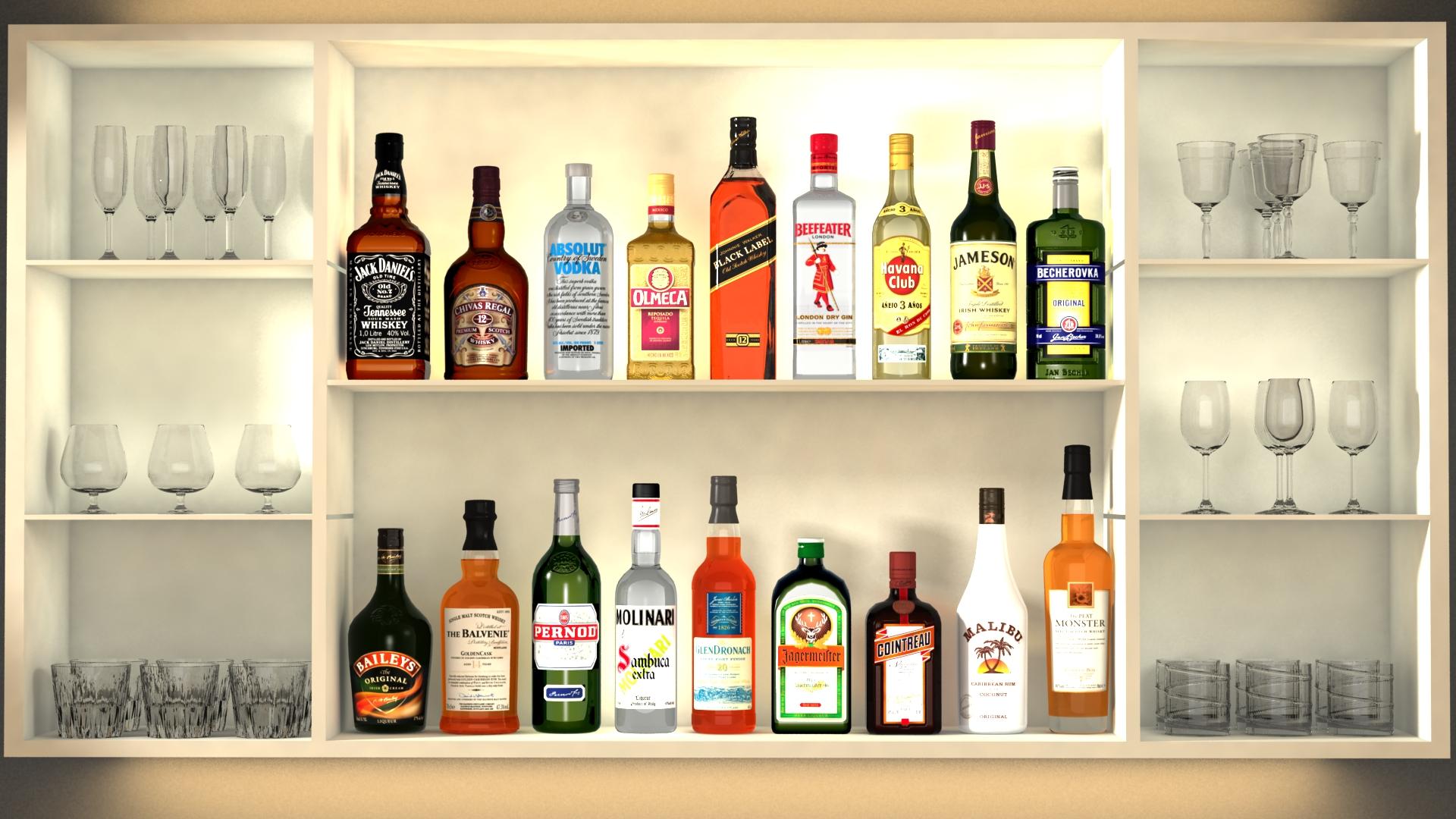 liquor bottles with bar unit interior vr/ar ready 3d model 3ds max  fbx jpeg jpg texture obj 279236