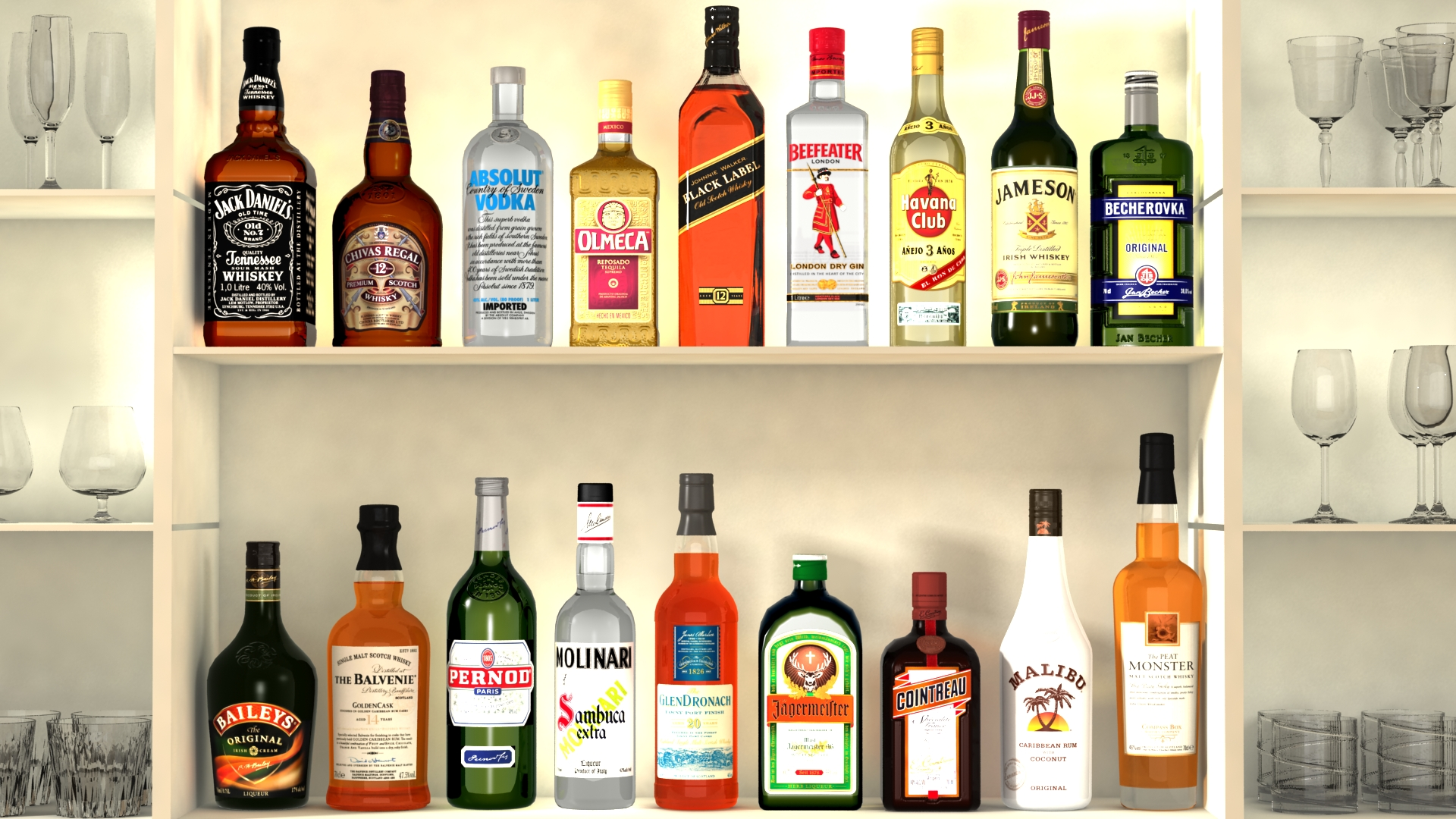 liquor bottles with bar unit interior vr/ar ready 3d model 3ds max  fbx jpeg jpg texture obj 279238