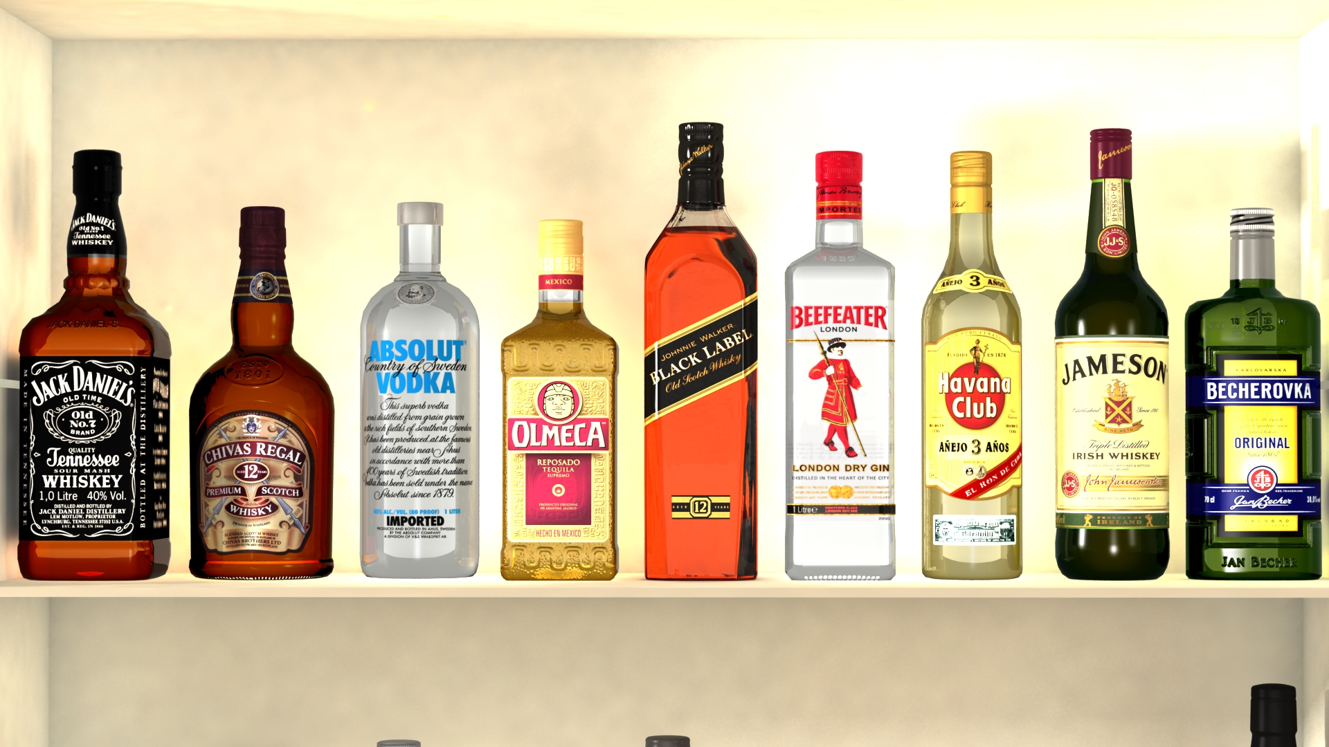 liquor bottles with bar unit interior vr/ar ready 3d model 3ds max  fbx jpeg jpg texture obj 279240