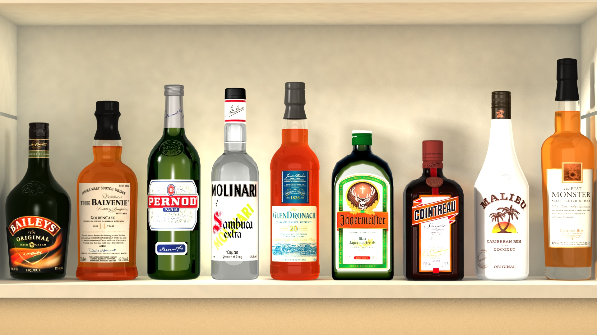 liquor bottles with bar unit interior vr/ar ready 3d model 3ds max  fbx jpeg jpg texture obj 279241