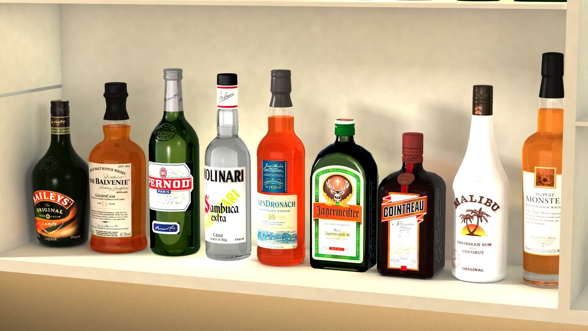 liquor bottles with bar unit interior vr/ar ready 3d model 3ds max  fbx jpeg jpg texture obj 279243