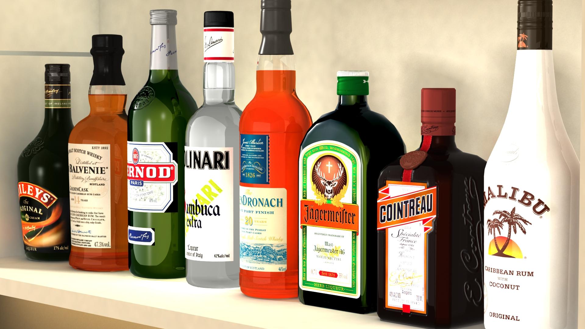 liquor bottles with bar unit interior vr/ar ready 3d model 3ds max  fbx jpeg jpg texture obj 279245