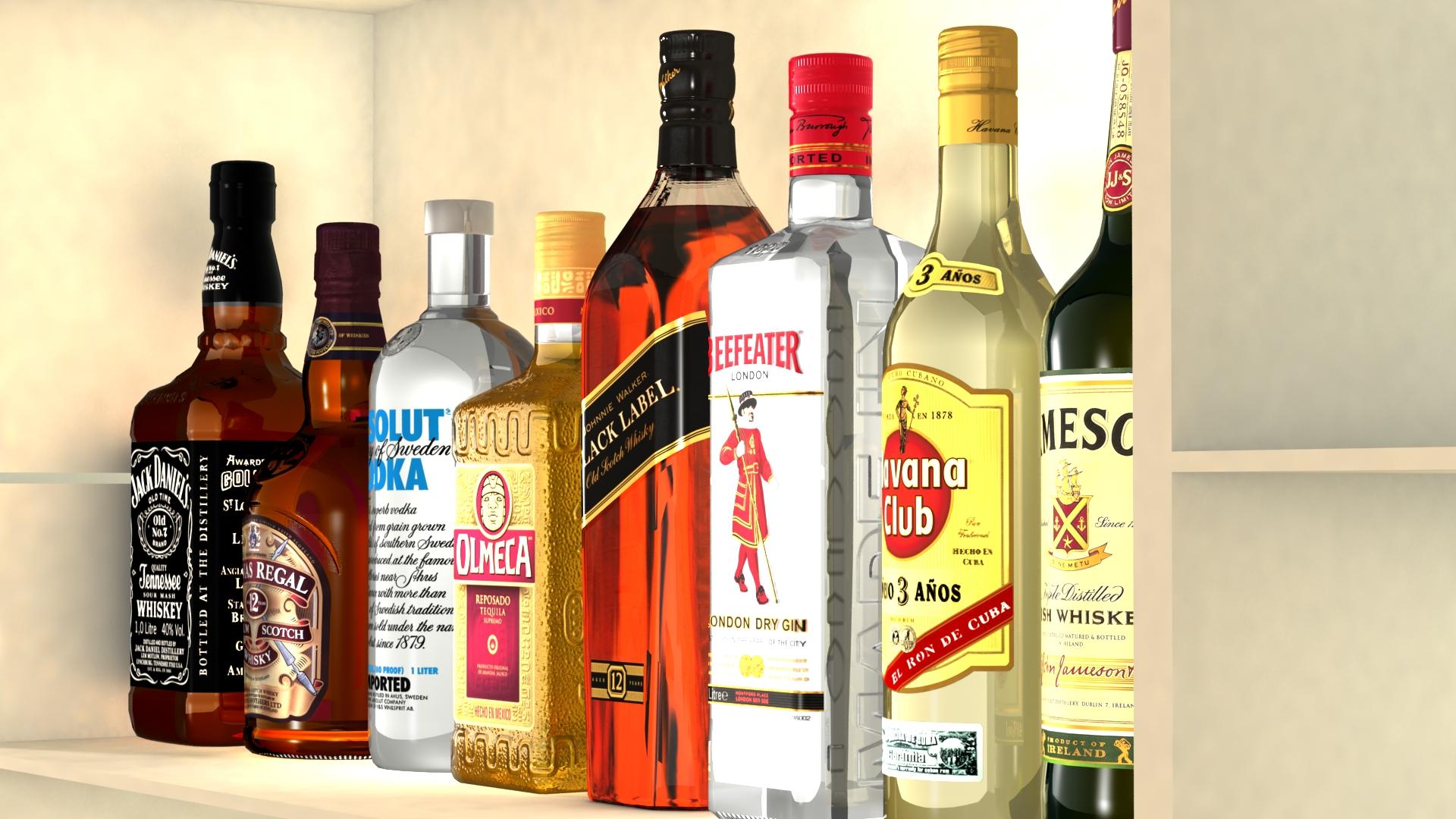 liquor bottles with bar unit interior vr/ar ready 3d model 3ds max  fbx jpeg jpg texture obj 279246