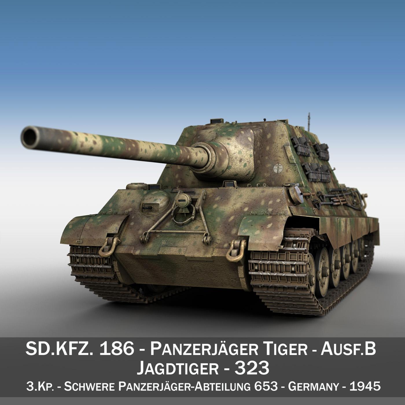 sd.kfz 186 jagdtiger – 323 3d model 3ds c4d lwo obj 279332