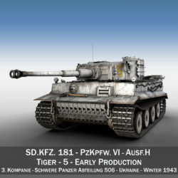 Panzer VI - Tiger - 5 - Early Production 3d model high poly virtual reality 3ds c4d lwo lws lw obj