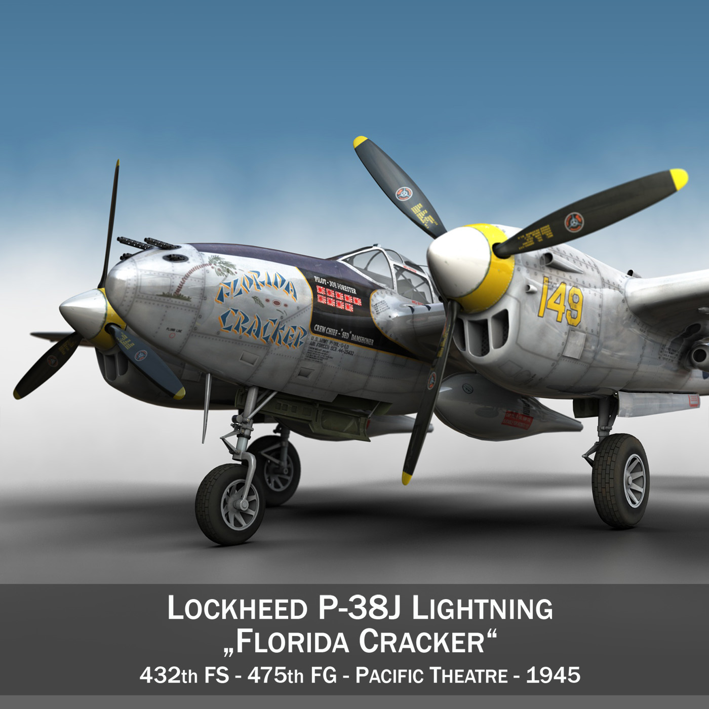 Lockheed P-38 Lightning - Florida Cracker 3d model fbx c4d lwo lws lw obj 279414