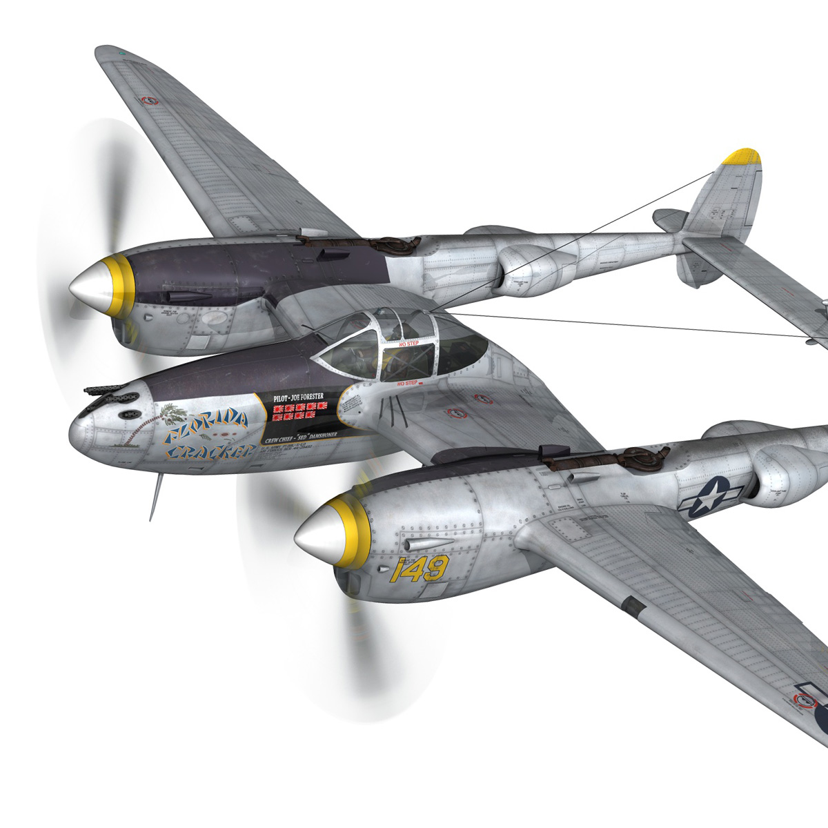 lockheed p-38 lightning – florida cracker 3d model fbx c4d lwo obj 279415