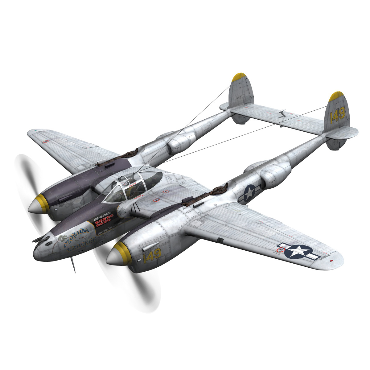 lockheed p-38 lightning – florida cracker 3d model fbx c4d lwo obj 279416