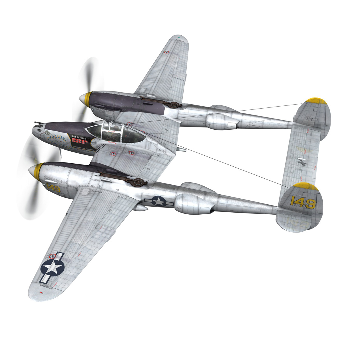 lockheed p-38 lightning – florida cracker 3d model fbx c4d lwo obj 279417