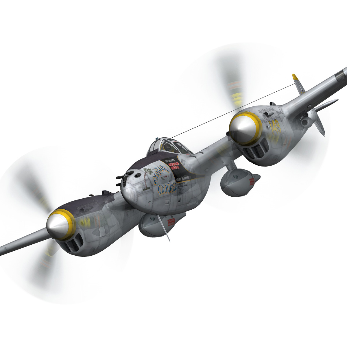 lockheed p-38 lightning – florida cracker 3d model fbx c4d lwo obj 279421