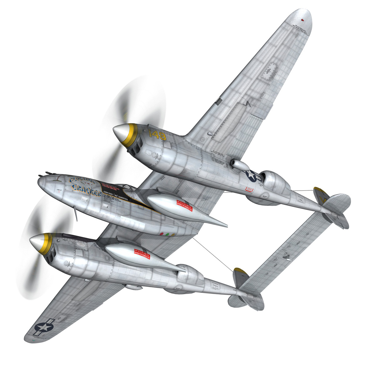 lockheed p-38 lightning – florida cracker 3d model fbx c4d lwo obj 279422