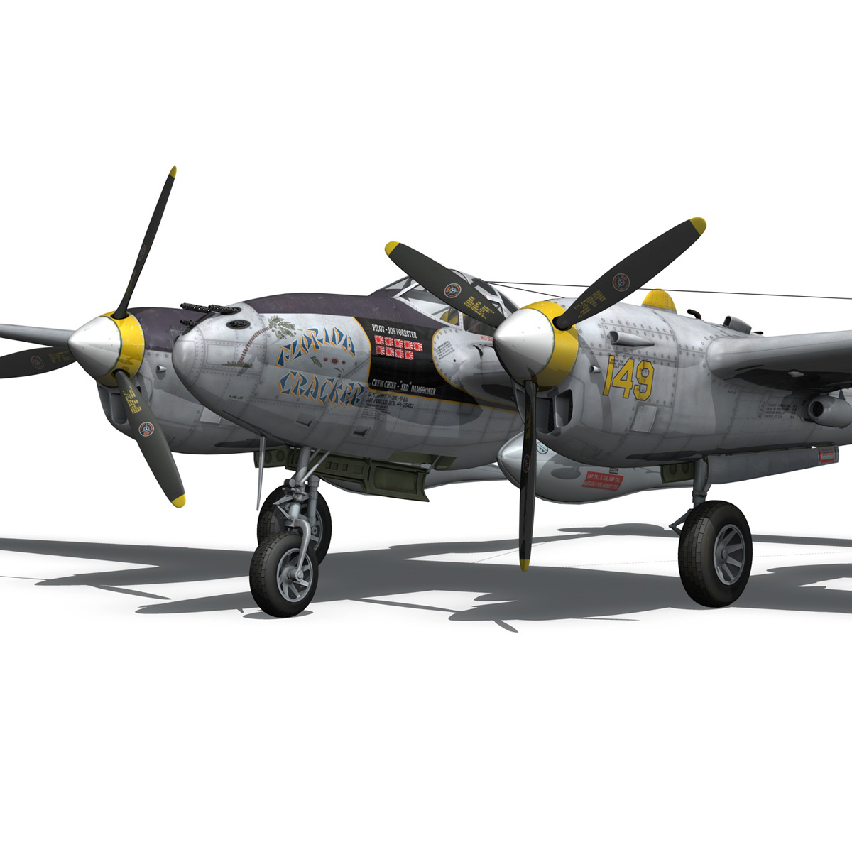 lockheed p-38 lightning – florida cracker 3d model fbx c4d lwo obj 279423