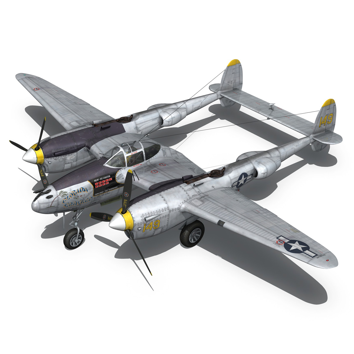 lockheed p-38 lightning – florida cracker 3d model fbx c4d lwo obj 279424