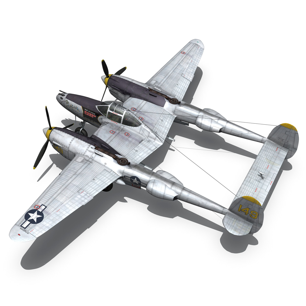lockheed p-38 lightning – florida cracker 3d model fbx c4d lwo obj 279425