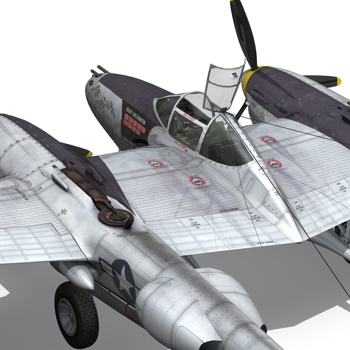 lockheed p-38 lightning – florida cracker 3d model fbx c4d lwo obj 279429
